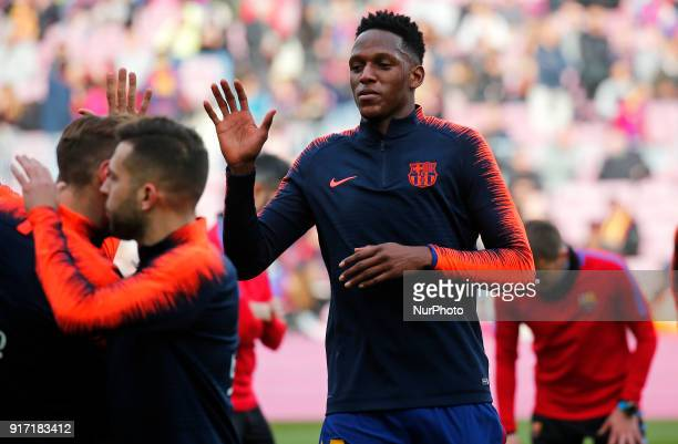 Yerry Mina during the match between FC Barcelona and Getafe CF for the round 23 of the Liga Santander played at the Camp Nou Stadium on 11th February...