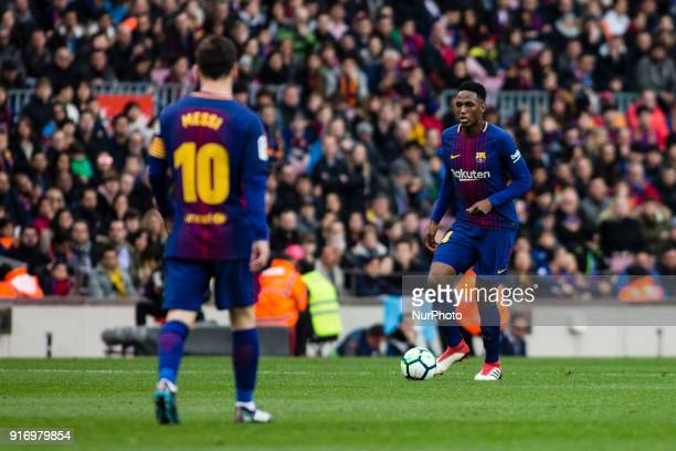 Yerry Mina from Colombia of FC Barcelona and Leo Messi from Argentina of FC Barcelona during La Liga match between FC Barcelona v Getafe at Camp Nou...