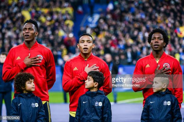 Yerry Mina Luis Fernando Muriel and Carlos Sanchez of Colombia during the International friendly match between France and Colombia on March 23 2018...