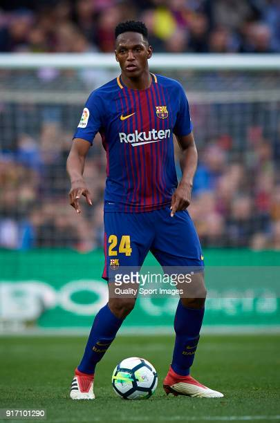 Yerry Mina of Barcelona in action during the La Liga match between Barcelona and Getafe at Camp Nou on February 11 2018 in Barcelona Spain