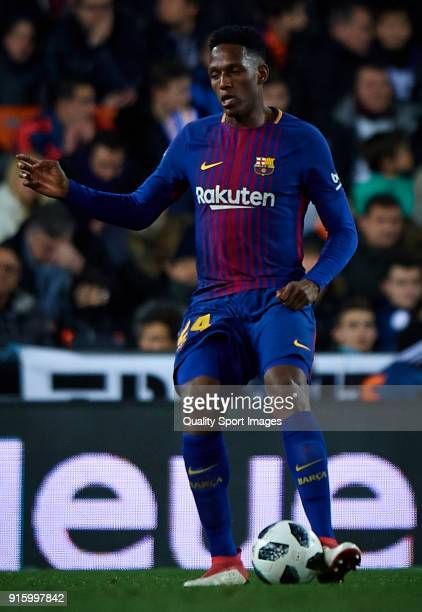 Yerry Mina of Barcelona in action during the Semi Final Second Leg match of the Copa del Rey between Valencia CF and FC Barcelona on February 8 2018...