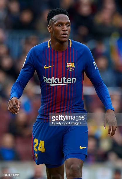 Yerry Mina of Barcelona looks on during the La Liga match between Barcelona and Getafe at Camp Nou on February 11 2018 in Barcelona Spain
