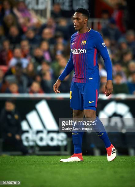 Yerry Mina of Barcelona looks on during the Semi Final Second Leg match of the Copa del Rey between Valencia CF and FC Barcelona on February 8 2018...