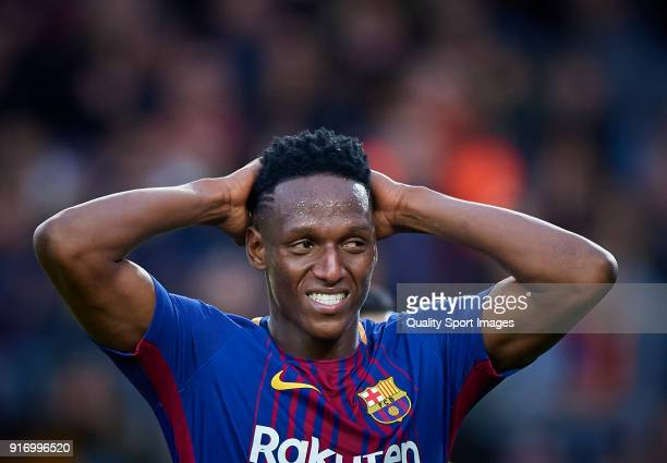 Yerry Mina of Barcelona reacts during the La Liga match between Barcelona and Getafe at Camp Nou on February 11 2018 in Barcelona Spain