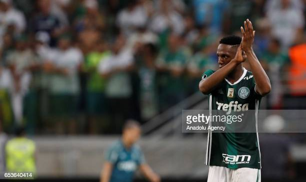 Yerry Mina of Brazil's Palmeiras celebrates after scoring a goal against Bolivia's Jorge Wilstermann during their 2017 Copa Libertadores football...