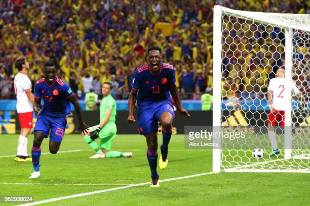 Yerry Mina of Colombia celebrates after scoring his team's first goal during the 2018 FIFA World Cup Russia group H match between Poland and Colombia...