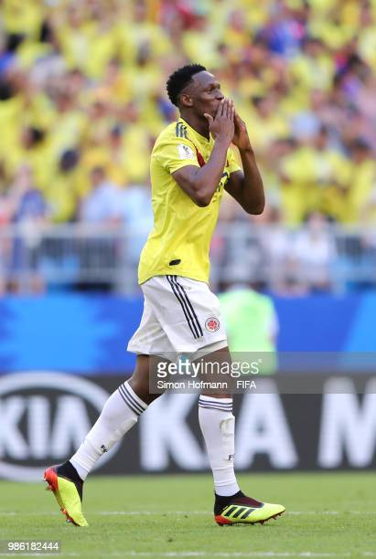 Yerry Mina of Colombia celebrates after scoring his team's first goal during the 2018 FIFA World Cup Russia group H match between Senegal and...