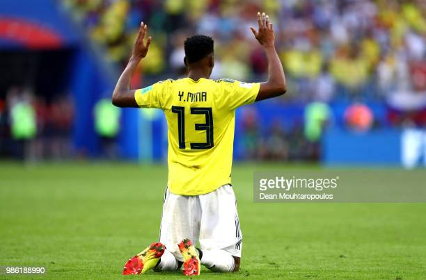 Yerry Mina of Colombia celebrates following his sides victory in the 2018 FIFA World Cup Russia group H match between Senegal and Colombia at Samara...