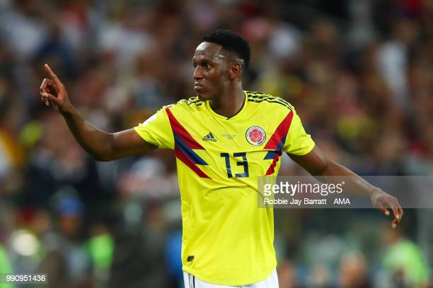 Yerry Mina of Colombia celebrates scoring a goal to make it 11 during the 2018 FIFA World Cup Russia Round of 16 match between Colombia and England...