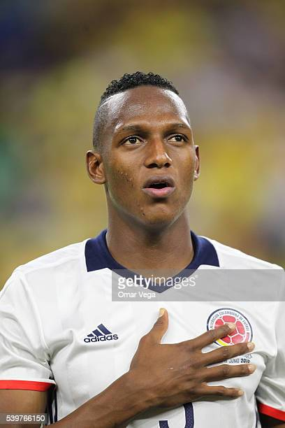 Yerry Mina of Colombia looks on before a group A match between Colombia and Costa Rica at NRG Stadium as part of Copa America Centenario US 2016 on...