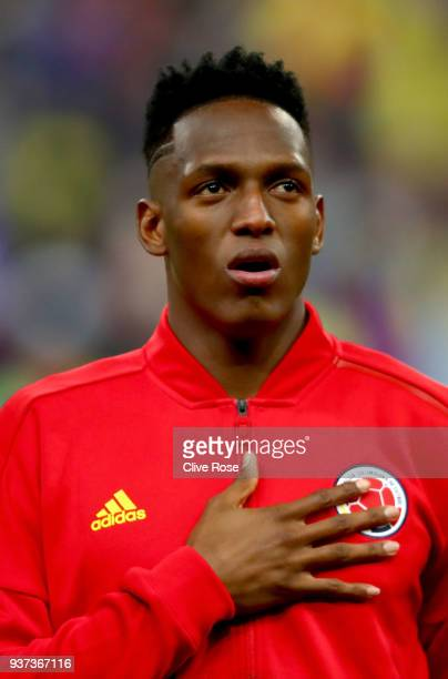 Yerry Mina of Colombia looks on prior to the International friendly match between France and Columbia at Stade de France on March 23 2018 in Paris...
