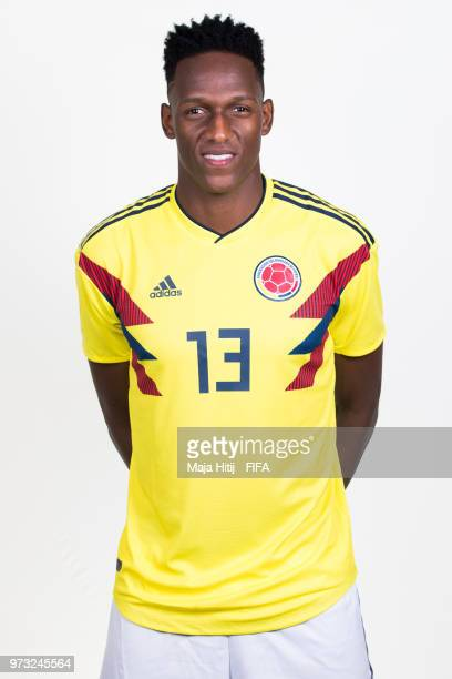 Yerry Mina of Colombia poses for a portrait during the official FIFA World Cup 2018 portrait session at Kazan Ski Resort on June 13 2018 in Kazan...