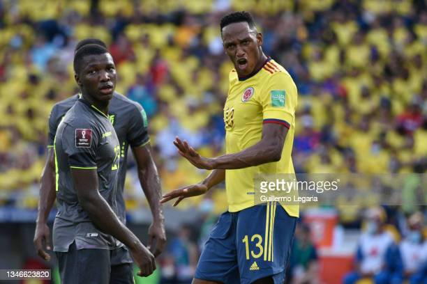 Yerry Mina of Colombia reacts during a match between Colombia and Ecuador as part of South American Qualifiers for Qatar 2022 at Estadio...