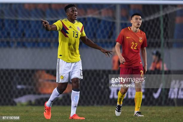 Yerry Mina of Colombia reacts during International Friendly Football Match between China and Colombia at the Chongqing Olympic Sports Center on...