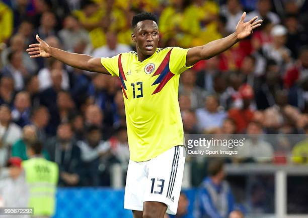 Yerry Mina of Colombia reacts during the 2018 FIFA World Cup Russia Round of 16 match between Colombia and England at Spartak Stadium on July 3 2018...