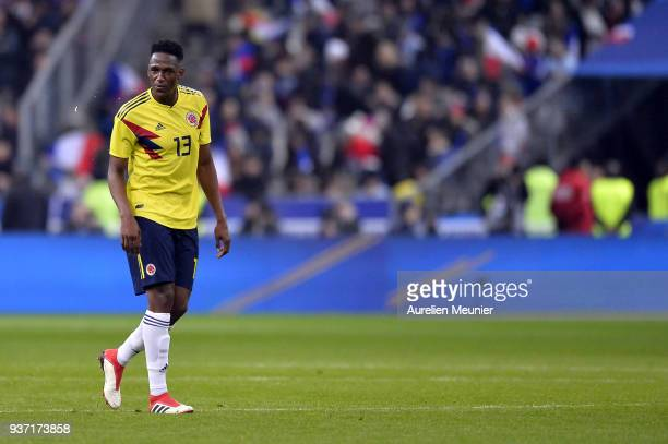 Yerry Mina of Colombia reacts during the international friendly match between France and Colombia at Stade de France on March 23 2018 in Paris France