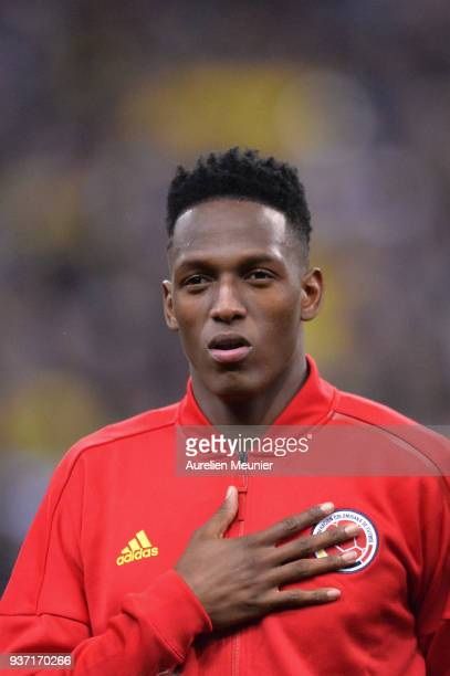 Yerry Mina of Colombia reacts during the National Anthem before the international friendly match between France and Colombia at Stade de France on...