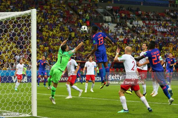 Yerry Mina of Colombia scores a goal to make it 01 during the 2018 FIFA World Cup Russia group H match between Poland and Colombia at Kazan Arena on...