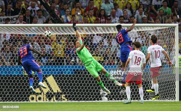 Yerry Mina of Colombia scores a header for his team's first goal during the Russia 2018 World Cup Group H football match between Poland and Colombia...