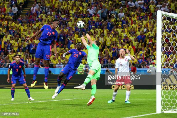 Yerry Mina of Colombia scores his team's first goal during the 2018 FIFA World Cup Russia group H match between Poland and Colombia at Kazan Arena on...