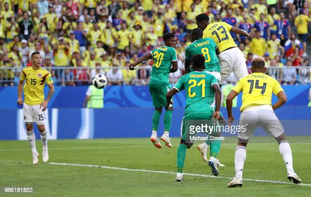 Yerry Mina of Colombia scores his team's first goal during the 2018 FIFA World Cup Russia group H match between Senegal and Colombia at Samara Arena...