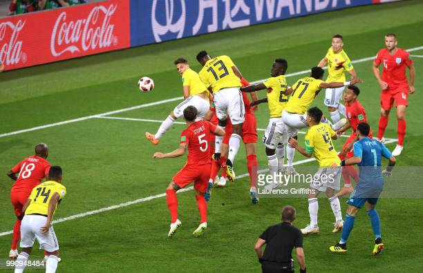 Yerry Mina of Colombia scores his team's first goal during the 2018 FIFA World Cup Russia Round of 16 match between Colombia and England at Spartak...