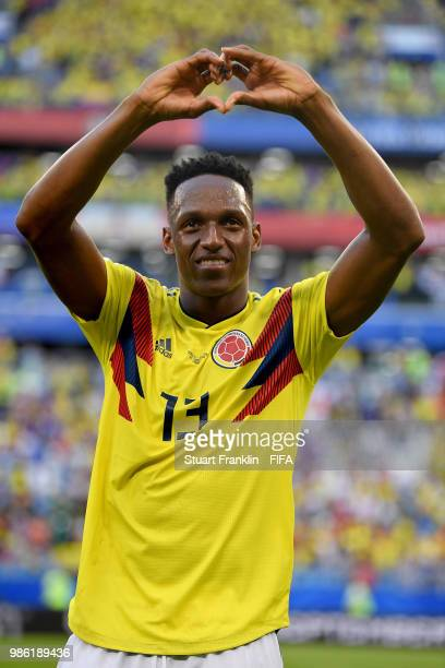 Yerry Mina of Colombia shows appreciation to the fans following his sides victory in the 2018 FIFA World Cup Russia group H match between Senegal and...