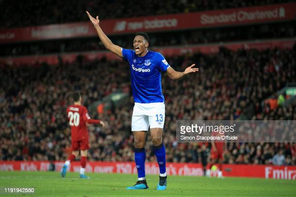 Yerry Mina of Everton asks questions during the FA Cup Third Round match between Liverpool and Everton at Anfield on January 5 2020 in Liverpool...