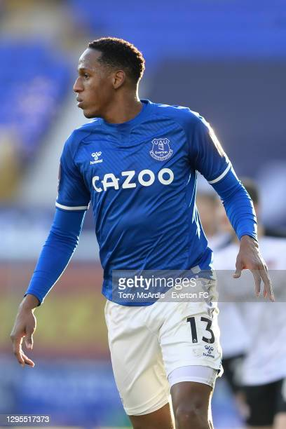 Yerry Mina of Everton during the FA Cup Third Round match between Everton and Rotherham United at Goodison Park on January 9 2021 in Liverpool,...