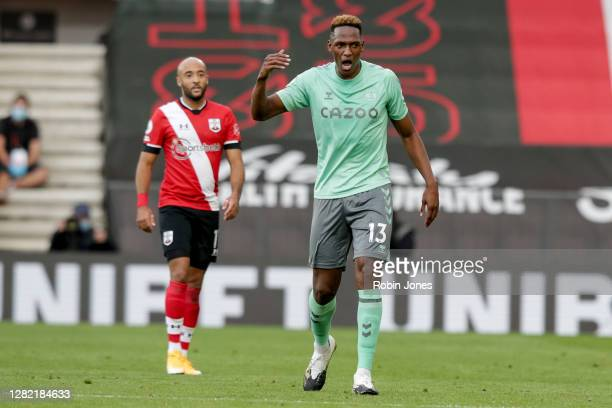 Yerry Mina of Everton during the Premier League match between Southampton and Everton at St Mary's Stadium on October 25 2020 in Southampton England...