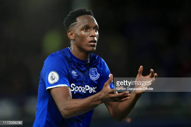 Yerry Mina of Everton gestures during the Premier League match between Everton FC and Manchester City at Goodison Park on September 28 2019 in...