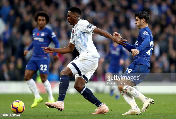 Yerry Mina of Everton is challenged by Alvaro Morata of Chelsea during the Premier League match between Chelsea FC and Everton FC at Stamford Bridge...