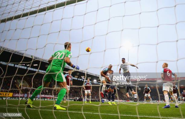 Yerry Mina of Everton scores his team's first goal past Joe Hart of Burnley during the Premier League match between Burnley FC and Everton FC at Turf...