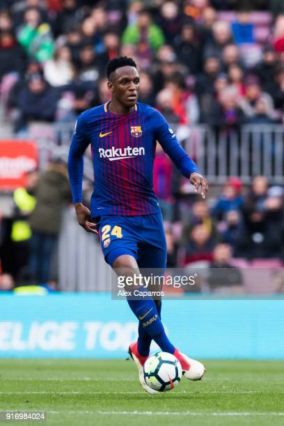 Yerry Mina of FC Barcelona conducts the ball during the La Liga match between Barcelona and Getafe at Camp Nou on February 11 2018 in Barcelona Spain