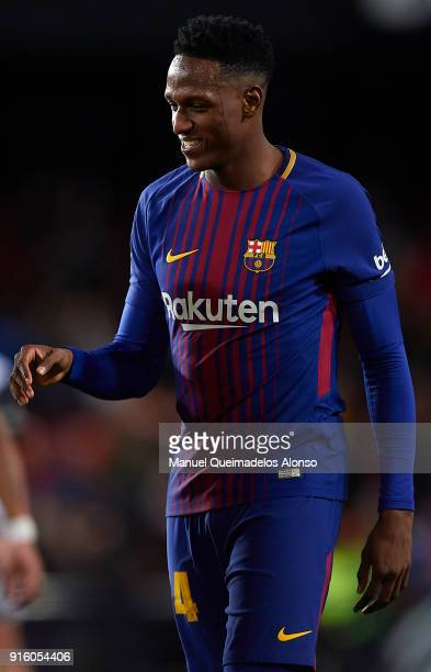 Yerry Mina of FC Barcelona looks on after the Copa del Rey semifinal second leg match between Valencia and Barcelona on February 8 2018 in Valencia...