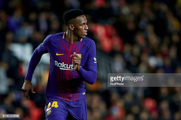 Yerry Mina of FC Barcelona looks on during the Copa del Rey semifinal second leg match between Valencia CF and FC Barcelona at Mestalla on February 8...