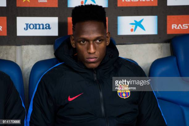 Yerry Mina of FC Barcelona looks on from the bench during the La Liga match between Espanyol and Barcelona at RCDE Stadium on February 4 2018 in...
