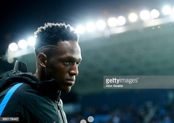 Yerry Mina of FC Barcelona looks on prior to the start the La Liga match between Malaga and Barcelona at Estadio La Rosaleda on March 10 2018 in...