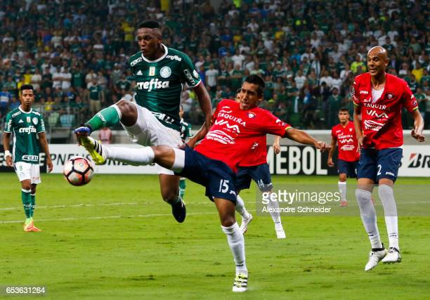 Yerry Mina of Palmeiras and Cristhian Machado of Jorge Wiltersmann in action during the match between Palmeiras of Brazil and Jorge Wiltersmann of...