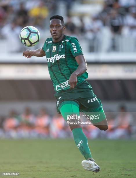 Yerry Mina of Palmeiras in action during the match between Ponte Preta and Palmeiras as a part of Campeonato Brasileiro 2017 at Moises Lucarelli...