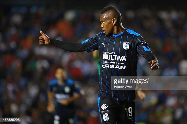 Yerson Candelo of Queretaro gestures during a 8th round match between Queretaro and Morelia as part of the Apertura 2015 Liga MX at La Corregidora...