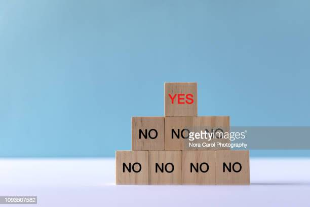 yes and no text on wooden block - permission concept stock pictures, royalty-free photos & images