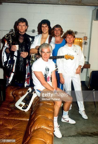 Yes backstage group portrait UK July 1984 Chris Squire Trevor Rabin Tony Kaye Alan White Jon Anderson