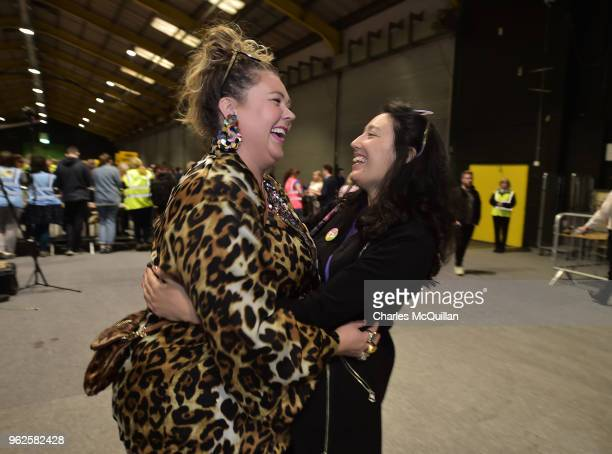 Yes campaign activist and podcaster Andrea Horan is hugged by Cara Sanquest as the count in the Irish referendum on the 8th amendment concerning the...