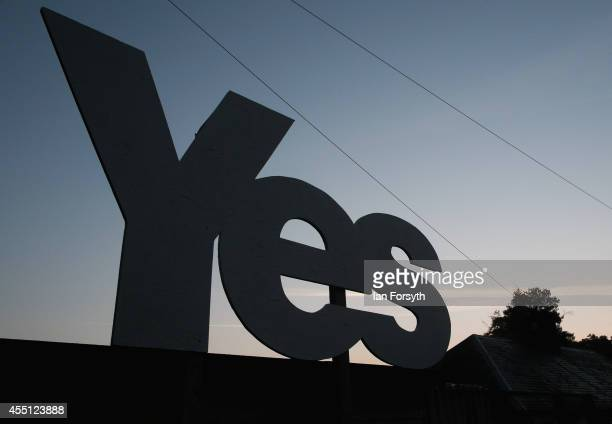 Yes campaign placard is erected outside a house on the Scottish borders on September 10 2014 in Jedburgh Scotland The Scottish referendum takes place...