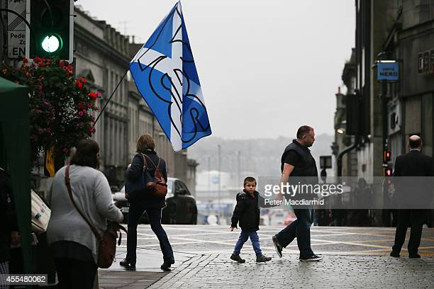 Yes campaign Saltire flag flies in Union Street on September 15, 2014 in Aberdeen,Scotland. The latest polls in Scotland's independence referendum...