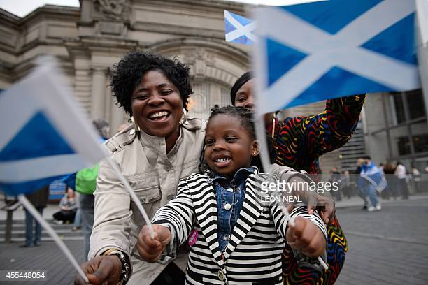 'Yes' campaign supporters gather outside Usher Hall ahead of the 'A Night for Scotland' concert in Edinburgh Scotland on September 14 2014...