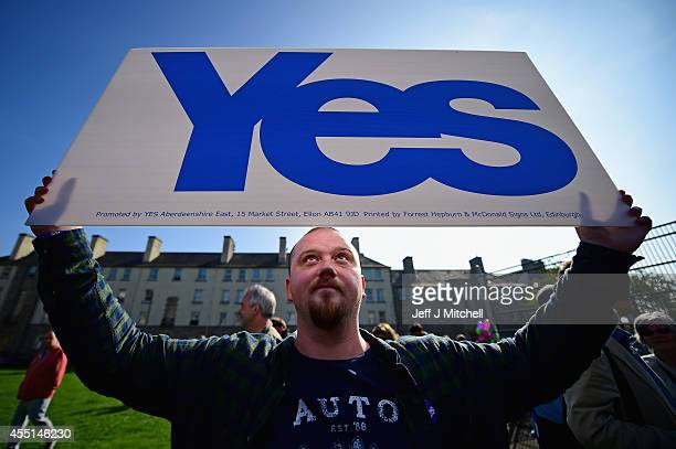 Yes campaigners attend an event with First Minister Alex Salmond and Deputy First Minister Nicola Sturgeon in Piershill Square on September 10 2014...