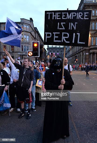 A ''Yes'' campaigners dressed as Darth Vader at a ''Yes'' rally in George Square as emotions run high during the final day of campaigning for the...