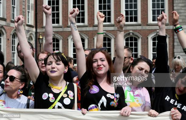 TOPSHOT Yes campaigners jubilate as they wait for the official result of the Irish abortion referendum at Dublin Castle in Dublin on May 26 2018 The...